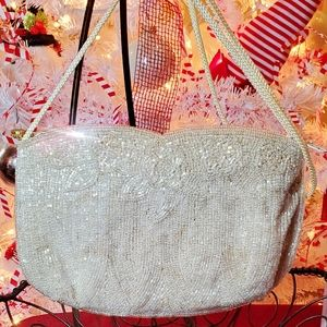 Vintage La Regale Creme Iridescent Hand Beaded Bag
